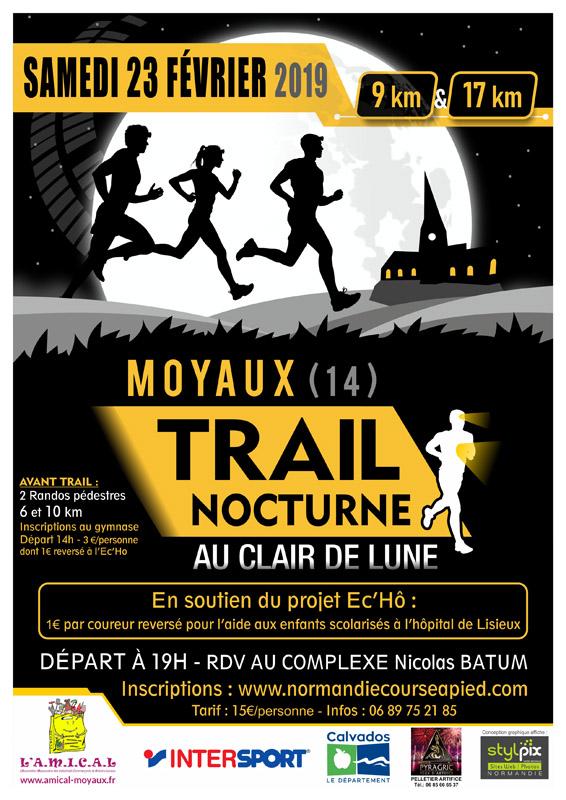 Trail nocturne, au clair de lune, sport, course à pied, 2019, Amical, Moyaux, calvados, normandie, lisieux