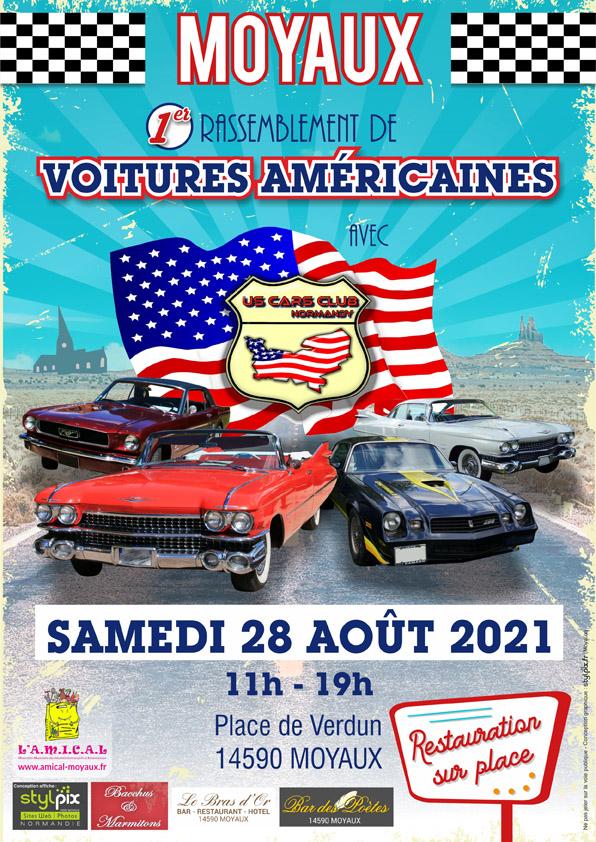 Affiche US Cars Club Normandy à moyaux